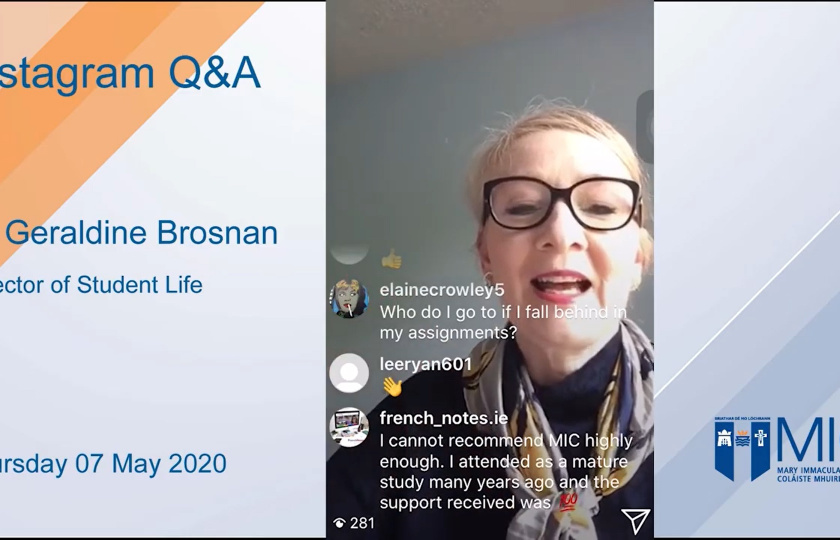 Dr Geraldine Brosnan, Director of Student Life at MIC Instagram Live Q&A