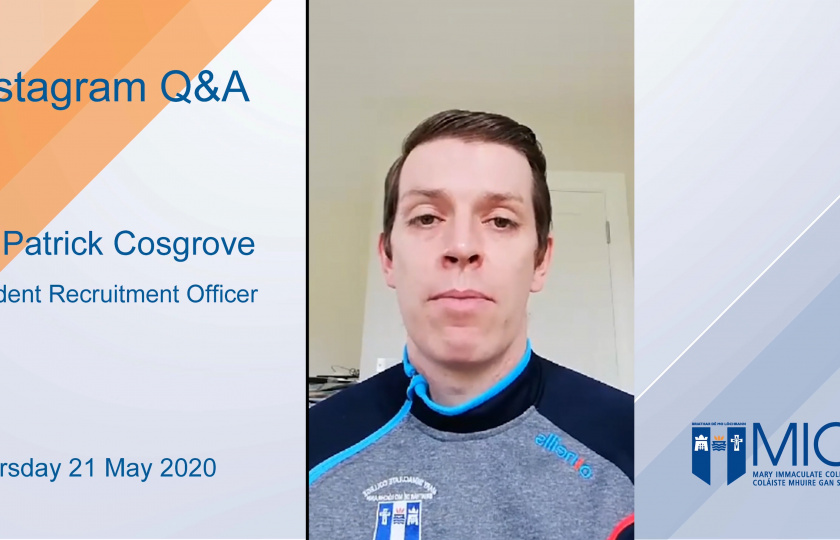 Dr Patrick Cosgrove, MIC's Student Recruitment Officer
